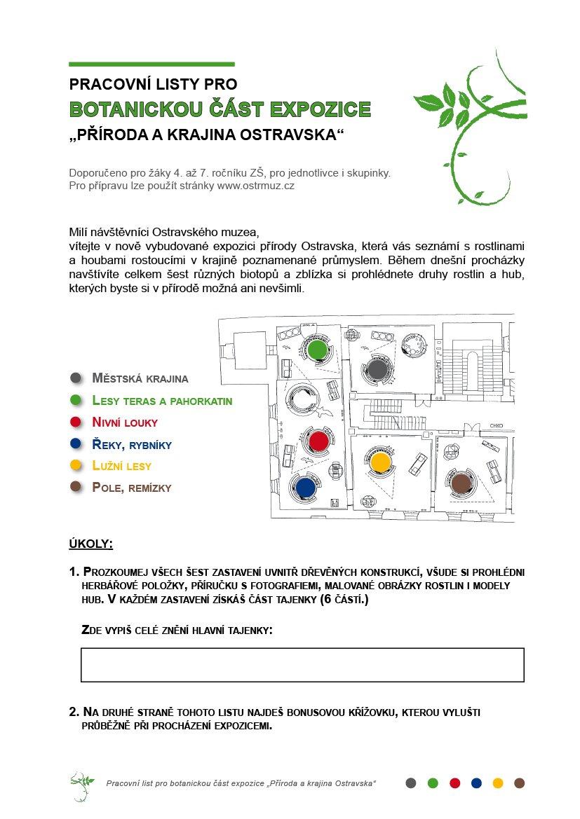 Pracovni Listy K Botanicke Casti Expozice Ostravske Muzeum